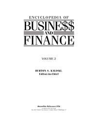 Encyclopedia of business and finance. Volume 2 — обложка книги.