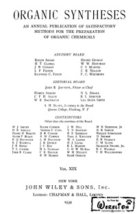 Organic syntheses. V. 19 — обложка книги.
