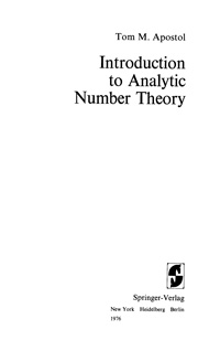Introduction to Analytic Number Theory — обложка книги.