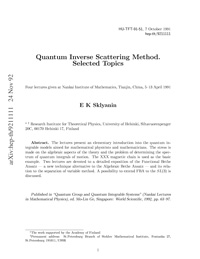 Quantum Inverse Scattering Method. Selected Topics — обложка книги.