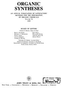 Organic syntheses. V. 76, 1999 — обложка книги.