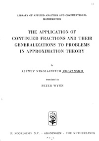 The Application of Continued Fractions And Their Generalizations To Problems In Approximation Theory — обложка книги.