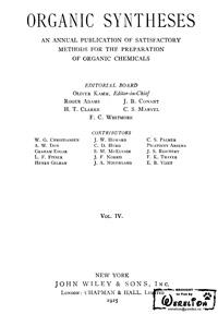 Organic syntheses. V. 4 — обложка книги.