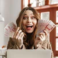 Счастье от получения денег.