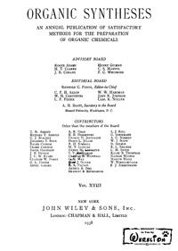 Organic syntheses. V. 18 — обложка книги.