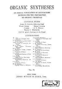 Organic syntheses. V. 9 — обложка книги.