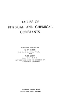 Tables of Physical and Chemical Constants — обложка книги.