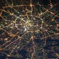 Вид из космоса на ночную Москву.