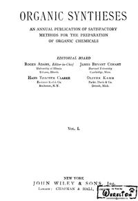 Organic syntheses. V. 1 — обложка книги.