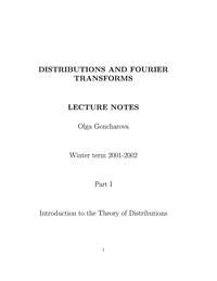 Distributions and Fourier Transforms. Part 1 — обложка книги.