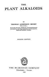 The plaht alkaloids — обложка книги.