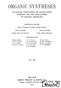 Organic syntheses. V. 3 — обложка книги.