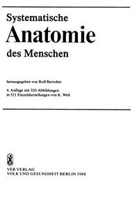 Systematische Anatomie des Menschen — обложка книги.
