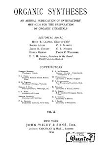 Organic syntheses. V. 10 — обложка книги.