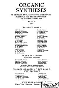 Organic syntheses. V. 53 — обложка книги.